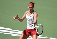 Aug 11, 2015; Toronto, Ontario, Canada;  Lucie Safarova of the Czech Republichits a shot against Daria Gavrilova of Russia  (not pictured) during the Rogers Cup tennis tournament at Aviva Centre. Mandatory Credit: Dan Hamilton-USA TODAY Sports