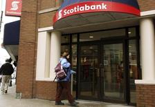 A customer walks into the Scotiabank on Spring Garden road in Halifax, Nova Scotia, March 3, 2009. The bank held its annual general meeting in Halifax on Tuesday. REUTERS/Paul Darrow