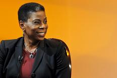 Ursula Burns, Chairman and CEO of Xerox smiles when she attends an interview at The Times Center in New York in this  April 13, 2013, file photo.  REUTERS/Eduardo Munoz/Files