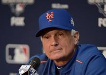 Oct 26, 2015; Kansas City, MO, USA; New York Mets manager Terry Collins (10) answers questions from media during workouts the day before game one of the 2015 World Series against the Kansas City Royals at Kauffman Stadium. Mandatory Credit: Denny Medley-USA TODAY Sports