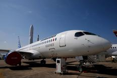 A Bombardier CS300 airplane is seen on a static display two days before the opening of the 51st Paris Air Show at Le Bourget airport near Paris in this June 13, 2015 file photo. REUTERS/Pascal Rossignol/Handout