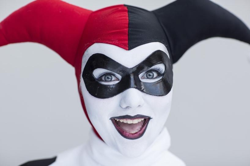 danielle pierson attends new york comic con dressed as harley quinn from dc comics batman comics in manhattan new york october 8 2015