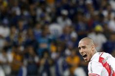 Maidana comemora gol do River Plate contra o Cruzeiro pela Libertadores.  27/5/2015.     REUTERS/Washington Alves