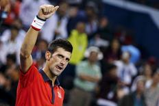 File photo of Novak Djokovic of Serbia celebrating after beating Andy Murray of Britain in their men's singles semi-final match at the Shanghai Masters tennis tournament in Shanghai, China, October 17, 2015. REUTERS/Damir Sagolj