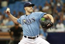 Aug 30, 2015; St. Petersburg, FL, USA; Tampa Bay Rays starting pitcher Nathan Karns (51) throws a pitch against the Kansas City Royals during the second inning at Tropicana Field. Mandatory Credit: Kim Klement-USA TODAY Sports