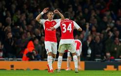 Arsenal's Kieran Gibbs celebrates scoring their first goal with Francis Coquelin Reuters / Eddie Keogh Livepic