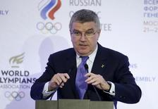 International Olympic Committee President Thomas Bach delivers a speech during a ceremony opening the 1st World Olympians Forum (WOF) in Moscow, Russia, October 21, 2015. REUTERS/Alexander Zemlianichenko/Pool
