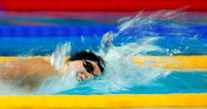 Katie Ledecky of the U.S. swims to set a new world record and win the women's 800m freestyle final at the Aquatics World Championships in Kazan, Russia, August 8, 2015. REUTERS/Hannibal Hanschke