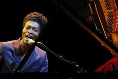 Singer Benjamin Clementine performs on stage during  the closing ceremony of the 68th Cannes Film Festival in Cannes, southern France, May 24, 2015.    REUTERS/Regis Duvignau