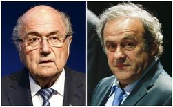Combination file photograph of FIFA President Sepp Blatter addressing a news conference at the FIFA headquarters in Zurich, Switzerland June 2, 2015 and UEFA President Michel Platini (R) attending the 65th FIFA Congress in Zurich, Switzerland, May 29, 2015. REUTERS/Ruben Sprich