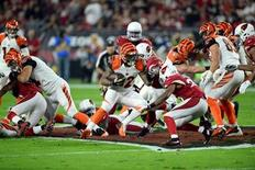 Cincinnati Bengals running back Jeremy Hill (32) runs the ball against the Arizona Cardinals during the first half at University of Phoenix Stadium. The Cardinals won 34-31. Mandatory Credit: Joe Camporeale-USA TODAY Sports