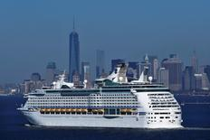 The New York skyline is seen in a distance as Royal Caribbean's Explorer of the Seas enters New York harbour January 29, 2014.  REUTERS/Eduardo Munoz