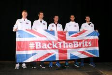 Tennis - Belgium v Great Britain - Davis Cup Final - Flanders Expo, Ghent, Belgium - 26/11/15 Great Britain Team Captain Leon Smith (C) poses with Kyle Edmund, Andy Murray, James Ward and Jamie Murray after the draw Action Images via Reuters / Jason Cairnduff Livepic