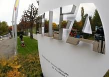 The FIFA logo is seen outside their headquarters in Zurich October 8, 2015.REUTERS/Arnd Wiegmann