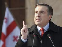Georgia's President Mikhail Saakashvili speaks during his inauguration ceremony in Tbilisi January 20, 2008. Saakashvili pledged at his inauguration on Sunday to mend Georgia's tattered relationship with Russia after he narrowly won an election which his opponents say was rigged.   REUTERS/Irakli Gedenidze/Pool (GEORGIA) - RTR1W1E2