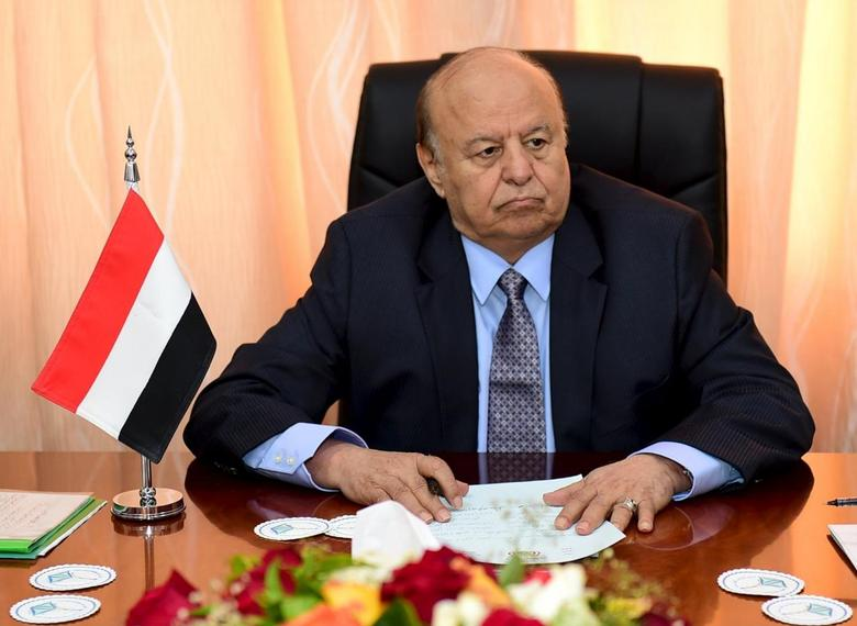 Yemen's President Abd-Rabbu Mansour Hadi sits during a meeting with government officials in the country's southern port city of Aden, December 1, 2015. REUTERS/Stringer