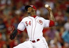 Jul 14, 2015; Cincinnati, OH, USA; National League pitcher Aroldis Chapman (54) of the Cincinnati Reds throws against the American League during the ninth inning of the 2015 MLB All Star Game at Great American Ball Park. Mandatory Credit: Rick Osentoski-USA TODAY Sports