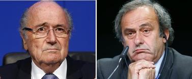 Presidente suspenso da Fifa, Joseph Blatter, e o presidente da Uefa, Michel Platini, em combinação de fotografias.    21/12/2015     REUTERS/Staff/Files