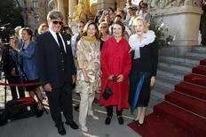 Filhos da atriz sueca Ingrid Bergman durante homenagem em Estocolmo.   24/08/2015  REUTERS/Christine Olsson/TT News Agency