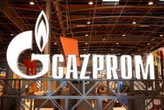 Logo da exportadora de gás russa Gazprom visto em evento em Paris.  02/06/2015    REUTERS/Benoit Tessier