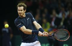 Tennis - Belgium v Great Britain - Davis Cup Final - Flanders Expo, Ghent, Belgium - 29/11/15 Men's Singles - Great Britain's Andy Murray in action during his match against Belgium's David Goffin Action Images via Reuters / Jason Cairnduff Livepic