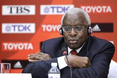 Outgoing President of International Association of Athletics Federations (IAAF) Lamine Diack attends a news conference in Beijing, August 20, 2015.  REUTERS/Jason Lee