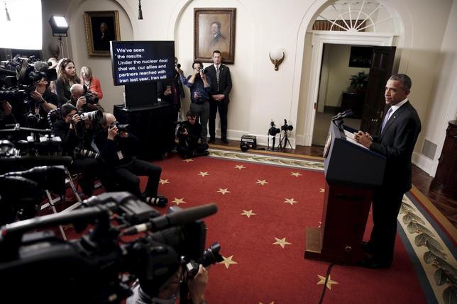 1月16日、国際原子力機関(IAEA)の報告書を受けて、欧米諸国は、対イラン経済制裁の解除を宣言した。写真は解除宣言を行うオバマ米大統領。(2016年 ロイター/Carlos Barria)