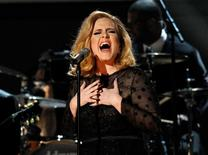 """Adele performs """"Rolling in the Deep"""" at the 54th annual Grammy Awards in Los Angeles, California, February 12, 2012.     REUTERS/Mario Anzuoni"""