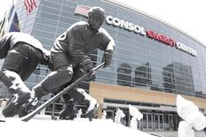 Jan 23, 2016; Pittsburgh, PA, USA; General view of snow on the Mario Lemieux statue outside before the Pittsburgh Penguins host the Vancouver Canucks at the CONSOL Energy Center. Mandatory Credit: Charles LeClaire-USA TODAY Sports