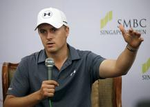 Jordan Spieth of the U.S. speaks during a news conference ahead of the SMBC Singapore Open golf tournament at Sentosa's Serapong golf course January 26, 2016. REUTERS/Edgar Su