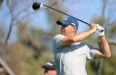 January 29, 2016; La Jolla, CA, USA;  Gary Woodland hits from the twelfth hole tee during the second round of the Farmers Insurance Open golf tournament at Torrey Pines Municipal Golf Course -  South Course.  Gary A. Vasquez-USA TODAY Sports -
