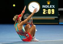 Germany's Angelique Kerber celebrates after winning her final match against Serena Williams of the U.S. at the Australian Open tennis tournament at Melbourne Park, Australia, January 30, 2016. REUTERS/Tyrone Siu