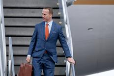 Jan 31, 2016; San Jose, CA, USA; Denver Broncos quarterback Peyton Manning exits a plane during team arrivals at the Mineta San Jose International Airport in preparation of Super Bowl 50 against the Carolina Panthers. Mandatory Credit: Cary Edmondson-USA TODAY Sports