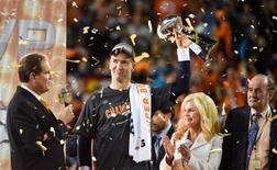 Feb 7, 2016; Santa Clara, CA, USA; Denver Broncos quarterback Peyton Manning holds up the Vince Lombardi Trophy after the game against the Carolina Panthers in Super Bowl 50 at Levi's Stadium. The Broncos won 24-10. Mandatory Credit: Kyle Terada-USA TODAY Sports
