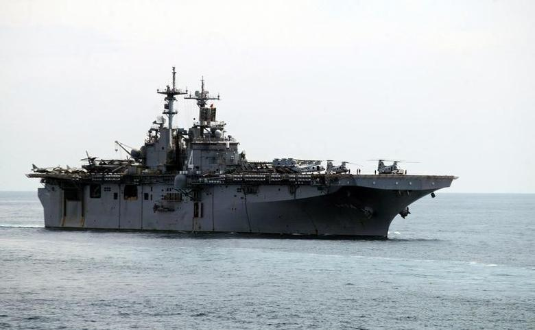 A USS Boxer LHD travels at an offshore location in Goa October 29, 2006. REUTERS/Prashanth Vishwanathan