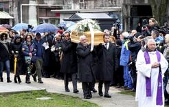 The coffin of Italian student Giulio Regeni is carried during his funeral in Fiumicello, northern Italy, February 12, 2016. REUTERS/Stringer