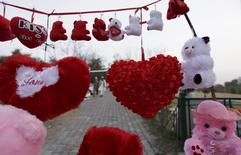 Teddy bears and heart shaped cushions are displayed for sale along a roadside ahead of Valentine's Day in Islamabad, Pakistan, February 12, 2016. REUTERS/Faisal Mahmood