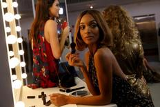 Model Jourdan Dunn poses as she presents a creation from the Diane von Furstenberg Fall/Winter 2016 Collection during New York Fashion Week February 14, 2016. REUTERS/Andrew Kelly
