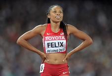 Aug 27, 2015; Beijing, China; Allyson Felix (USA) celebrates after winning the womens 400m in 49.26 during the IAAF World Championships in Athletics at National Stadium. Mandatory Credit: Kirby Lee-USA TODAY Sports