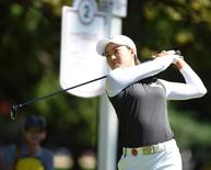 Aug 22, 2015; Coquitlam, British Columbia, CAN; Minjee Lee drives from the second tee during the third round at Vancouver Golf Club. Mandatory Credit: Anne-Marie Sorvin-USA TODAY Sports