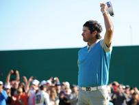 Bubba Watson reacts following his putt on eighteenth green during the final round of the Northern Trust Open golf tournament at Riviera Country Club. Mandatory Credit: Gary A. Vasquez-USA TODAY Sports