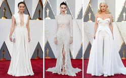 Olivia Wilde (L), Rooney Mara, and Lady Gaga pose on the red carpet in this combination photo before the 2016 Academy Awards in Hollywood, California February 28, 2016.  REUTERS/Staff