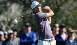 February 19, 2016; Pacific Palisades, CA, USA; Jordan Spieth hits from the fourth hole tee during the second round of the Northern Trust Open golf tournament at Riviera Country Club. Mandatory Credit: Gary A. Vasquez-USA TODAY Sports