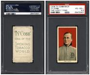 """The front and back of a rare T206 Ty Cobb baseball card, one of the recently discovered """"The Lucky 7 Find"""" cards that were authenticated, is seen in an undated photo provided by Professional Sports Authenticator. REUTERS/Professional Sports Authenticator/Handout via Reuters"""
