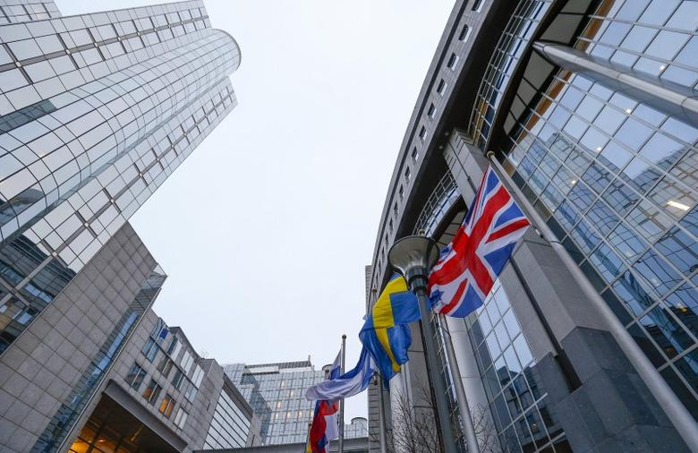 Britain's Union Jack flag flies next to other flags outside of the European Parliament in Brussels, January 29, 2016. . REUTERS/Yves Herman