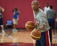Aug 11, 2015; Las Vegas, NV, USA; File photo of then-Team USA assistant coach Monty Williams dribbling a ball while conducting drills during the USA men's basketball national team minicamp at Mendenhall Center. Mandatory Credit: Stephen R. Sylvanie-USA TODAY Sports