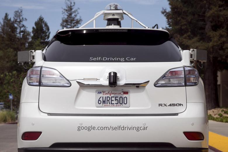 File photograph shows the rear of a Lexus SUV equipped with Google self-driving sensors during a media preview of Google's prototype autonomous vehicles in Mountain View, California September 29, 2015. REUTERS/Elijah Nouvelage/Files