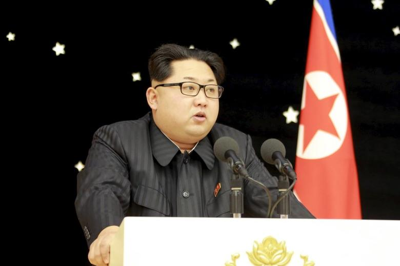 North Korean leader Kim Jong Un attends a banquet for contributors of the recent rocket launch, in this undated photo released by North Korea's Korean Central News Agency (KCNA) in Pyongyang on February 15, 2016. REUTERS/KCNA