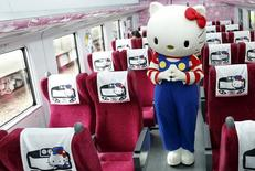 A performer dressed as a Hello Kitty poses inside a Hello Kitty-themed Taroko Express train in Taipei, Taiwan March 21, 2016. REUTERS/Tyrone Siu