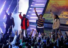 Members of A Tribe Called Quest (L-R): Consequence, Phife Dawg, Q-Tip and Jarobi White perform at the 4th Annual VH1 Hip Hop Honors event in New York in this October 4, 2007, file photo.  REUTERS/Eric Thayer/Files